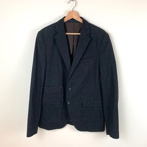Zara Man Sport Moda Black Plaid Suit Coat